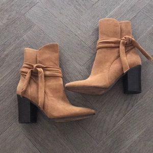 Banana Republic Brown Suede Ankle Booties Size 7.5